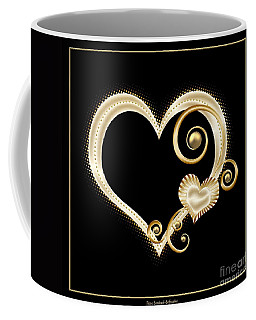 Hearts In Gold And Ivory On Black Coffee Mug