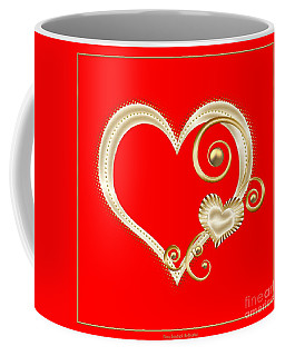Coffee Mug featuring the digital art Hearts In Gold And Ivory On Red by Rose Santuci-Sofranko