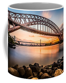 Hell Gate And Triboro Bridge At Sunset Coffee Mug by Mihai Andritoiu