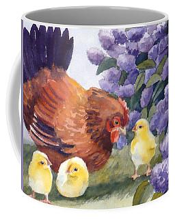 Hen And Chicks Among The Lilacs Coffee Mug