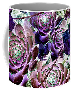 Hens And Chicks - Botanical - Indigo Blue And Purple Coffee Mug by Janine Riley