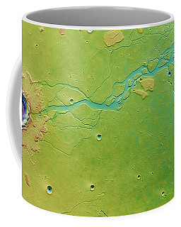 Coffee Mug featuring the photograph Hephaestus Fossae, Mars by Science Source