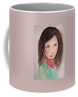 Coffee Mug featuring the painting Her Expression Says It All by Chrisann Ellis