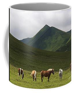 Herd Of Horses. The Sancy Massif. Auvergne. France. City Coffee Mug