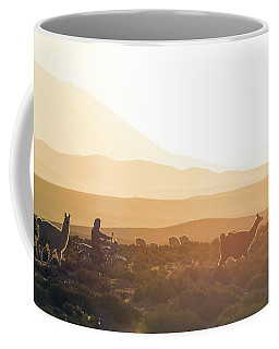Herd Of Llamas Lama Glama In A Desert Coffee Mug