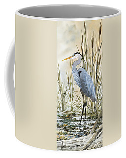 Heron And Cattails Coffee Mug