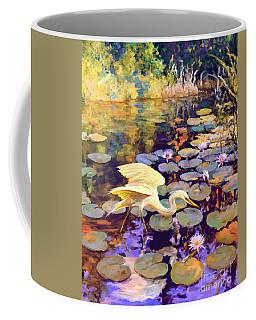 Heron In Lily Pond Coffee Mug