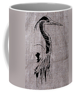 Heron On Burlap Coffee Mug