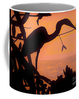 Coffee Mug featuring the drawing Heron Sunset by D Hackett