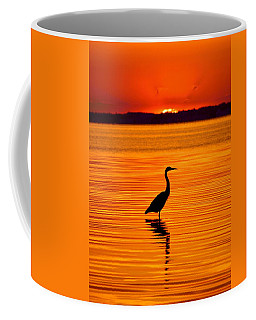 Heron With Burnt Sienna Sunset Coffee Mug