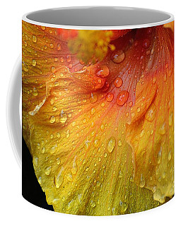 Coffee Mug featuring the photograph Hibiscus Water Drops by Lisa L Silva