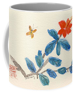 Hibiscus With Butterfly Coffee Mug