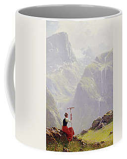 Coffee Mug featuring the painting High In The Mountains by Hans Andreas Dahl