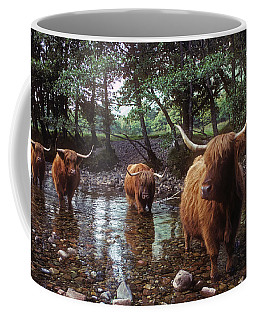 Highland Cattle In A Mountain Stream Coffee Mug