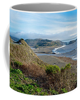 Highway 1 Near Outlet Of Russian River Into Pacific Ocean Near Jenner-ca  Coffee Mug by Ruth Hager