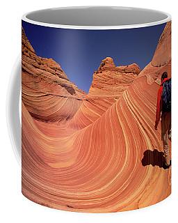 Hiker On Petrified Dunes Coffee Mug