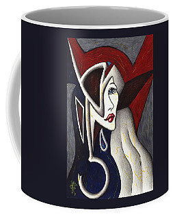 Coffee Mug featuring the drawing His Absence And Pain's Piercing Presence by Danielle R T Haney