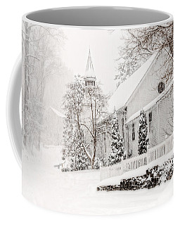Coffee Mug featuring the photograph Historic Church In Oella Maryland During A Blizzard by Vizual Studio