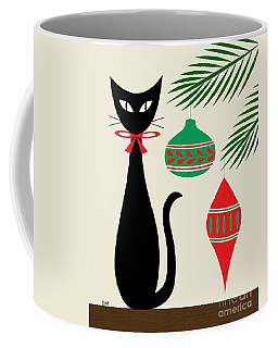 Coffee Mug featuring the digital art Holiday Cat On Cream by Donna Mibus