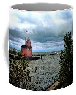 Holland Harbor Light With Big Winds Coffee Mug