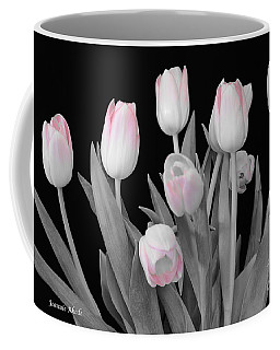 Coffee Mug featuring the photograph Holland Tulips In Black And White With Pink by Jeannie Rhode