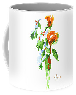 Coffee Mug featuring the painting Holly With Red Roses In A Vase by Kip DeVore