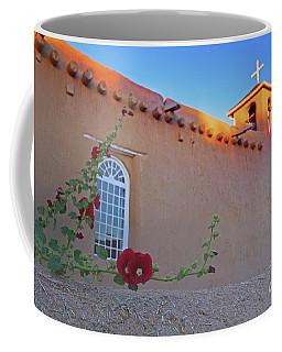 Hollyhocks On Adobe Coffee Mug by Gary Holmes