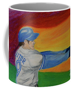 Coffee Mug featuring the drawing Home Run Swing Baseball Batter by First Star Art