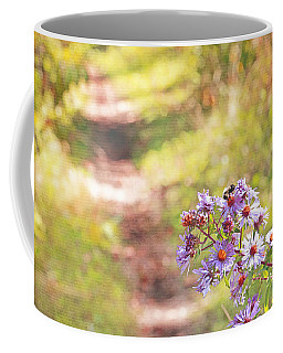 Coffee Mug featuring the photograph Honey Bee On Purple Aster by Brooke T Ryan