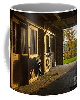 Horse Barn Sunset Coffee Mug
