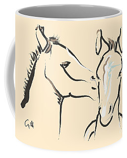 Coffee Mug featuring the painting Horse-foals-together 6 by Go Van Kampen
