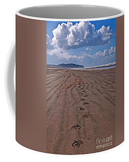 Horse Hoof Tracks On An Empty Beach Long Beach Wa Art Prints Coffee Mug by Valerie Garner
