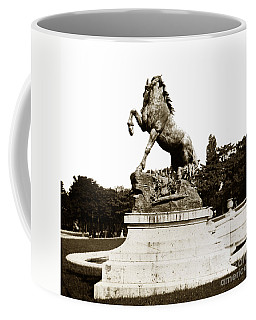 Coffee Mug featuring the photograph Horse Sculpture Trocadero  Paris France 1900 Historical Photos by California Views Mr Pat Hathaway Archives