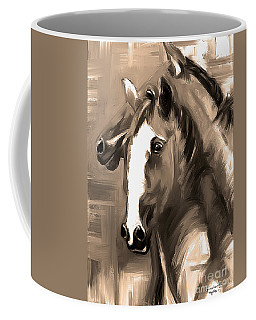 Coffee Mug featuring the painting Horse Together 1 Sepia by Go Van Kampen