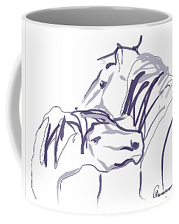 Coffee Mug featuring the painting Horse - Together 10 by Go Van Kampen