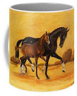 Coffee Mug featuring the painting Horse - Together 2 by Go Van Kampen