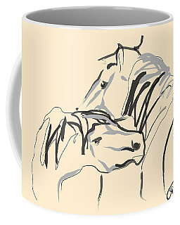 Coffee Mug featuring the painting Horse - Together 4 by Go Van Kampen