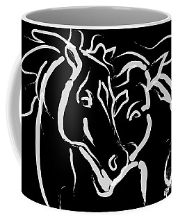 Coffee Mug featuring the painting Horse- Together 5 by Go Van Kampen
