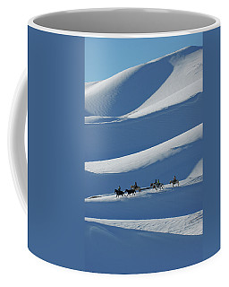 Horseback Riders On Winter Dunes Coffee Mug