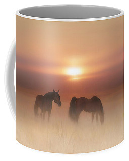 Horses In A Misty Dawn Coffee Mug