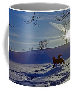 Horses In Snow Coffee Mug