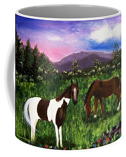 Coffee Mug featuring the painting Horses by Jamie Frier
