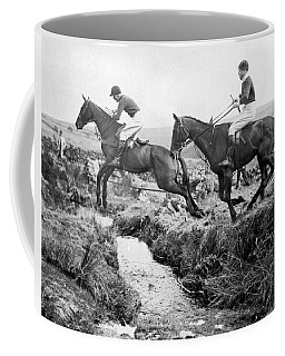 Horses Jumping A Creek Coffee Mug