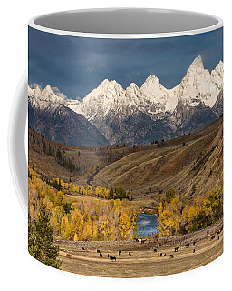 Horses On The Gros Ventre River Coffee Mug