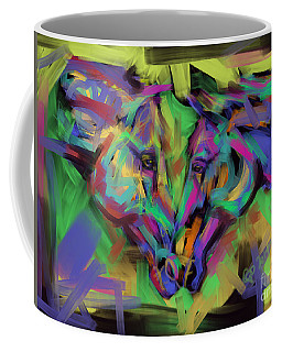 Coffee Mug featuring the painting Horses Together In Colour by Go Van Kampen