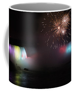 Horseshoe Falls With Fireworks Coffee Mug