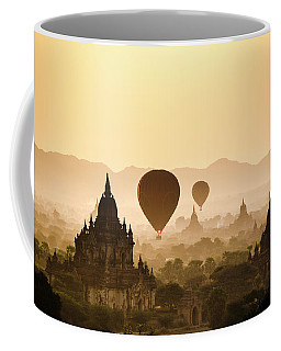 Hot Air Balloons Over The Temples Coffee Mug