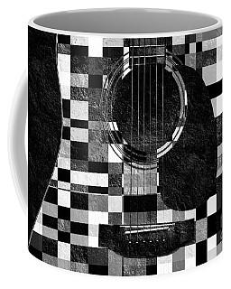 Hour Glass Guitar Random Bw Squares Coffee Mug