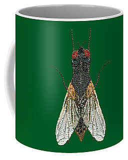 House Fly In Green Coffee Mug