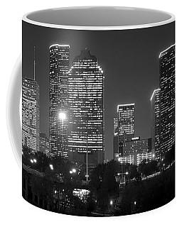 Houston Skyline At Night Black And White Bw Coffee Mug